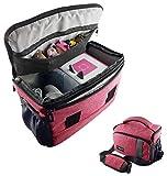 Tasche für Toniebox und Zubehör mit Schultergurt | Platz für bis zu 16 Hörfiguren, Ladestation, Lauscher | PINK | geeignet für Tigerbox Touch | Transport-Tasche Reisetasche Musik-boxen Musikwürfel