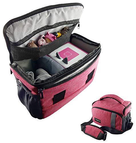 Tasche für Toniebox und Zubehör mit Schultergurt   Platz für bis zu 16 Hörfiguren, Ladestation, Lauscher   PINK   geeignet für Tigerbox Touch   Transport-Tasche Reisetasche Musik-boxen Musikwürfel