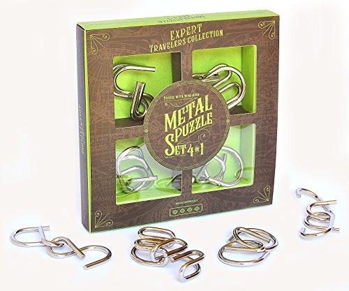 Logica Juegos Art. Set de Metal 4 en 1 - Rompecabezas de Metal - Set de Puzzles Inteligentes - Varias Dificultades - Serie de Viajeros
