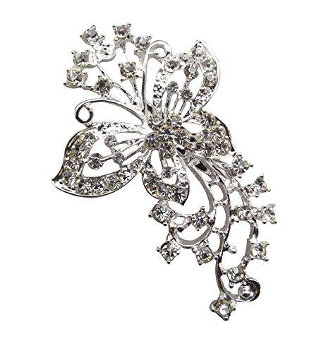 TOOKY Spilla grande a forma di farfalla, perline di cristallo, accessorio per feste, matrimoni e placcato Argento, cod. alloy