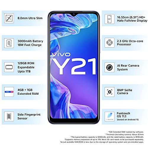 Vivo Y21 (Midnight Blue, 4GB RAM, 128GB Storage) with No Cost EMI/Additional Exchange Offers