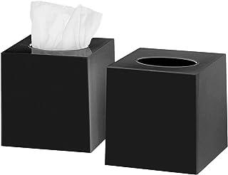 DWËLLZA HOMË Tissue Box Cover Square - Facial Cube Tissue Box Holder Case Dispenser for Bathroom Vanity Countertop, Bedroo...