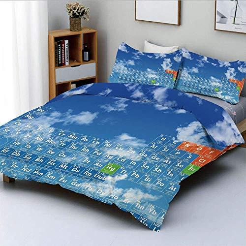 Bettbezug-Set, klarer Himmel mit Wolken und Chemietisch für Kinder Smart Student PrintDecorative 3-teiliges Bettwäscheset mit 2 Kissen Sham, blau und weiß, Kinder & pflegeleic