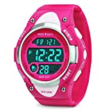 Girls Boys Digital Watch - Kids Sports Waterproof Outdoor Watches with Alarm Stopwatch Youth Children LED Electronic Wristwatch - Rose Red