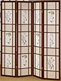Legacy Decor 4 Panel Floral Accented Screen Room Divider, Cherry Wood Frame, Printed Shoji Paper