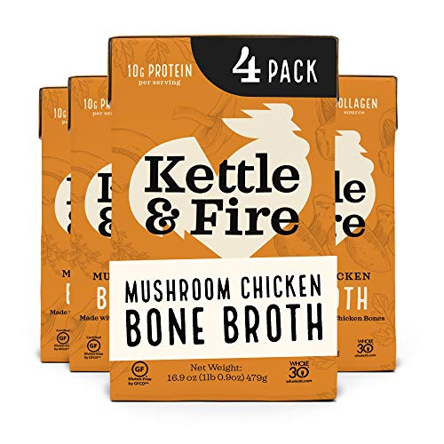 Kettle and Fire Mushroom Chicken Bone Broth, Keto, Paleo and Whole 30 Approved, Gluten Free, High in Protein and Collagen, 4 Pack
