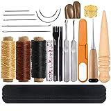 レザークラフト 工具 道具セット レザークラフト 手縫いセット 蝋引き紐 革縫い針 菱目打ち 千枚通し レザーツール 初心者セット 革細工 工具