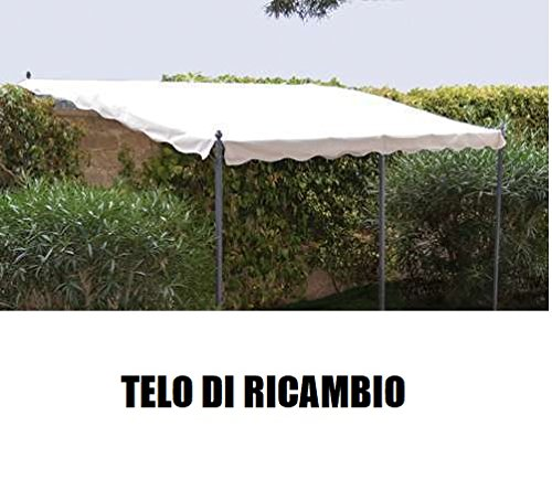 Megashopitalia Top Telo Copertura di Ricambio per Pergola 3x4MT Veranda a Muro Ecrù Originale Gazebo Fissa Solo Telo