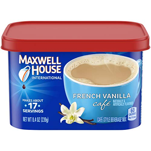 Maxwell House French Vanilla Coffee International Café, 8.4 oz Canister, Pack of 4
