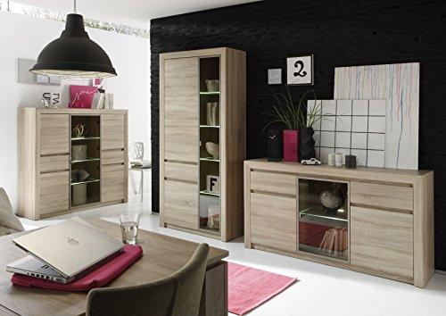trendteam SV86345 Highboard Wohnzimmerschrank Eiche Sonoma Hell Nachbildung, BxHxT 144 x 136 x 41 cm - 2
