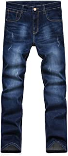 YOUTHUP Mens Stretchy Jeans Regular Fit Straight Leg Denim Trousers Business Casual Mid Rise Jeans