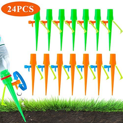 Litthing Dispensador de Riego, Sistema de Riego Automático y Ajustable de Plantas, Dispositivo de Riego por Goteo, Distribuidor de Agua, Herramientas de Jardinería, 24 Pack + 1 Aguja para Pinchar