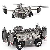 FY330 2 en 1 Mode Aérien et Terrestre 0.3MP 480P WiFi FPV Hélicoptère Militaire Drone Wagon-citerne 2.4G 4CH RC Quadcopter