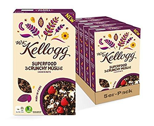 W.K KELLOGG Crunchy Müsli Superfood Cacao & Nuts, vegan & palmölfrei, 5er Pack (5 x 400g)