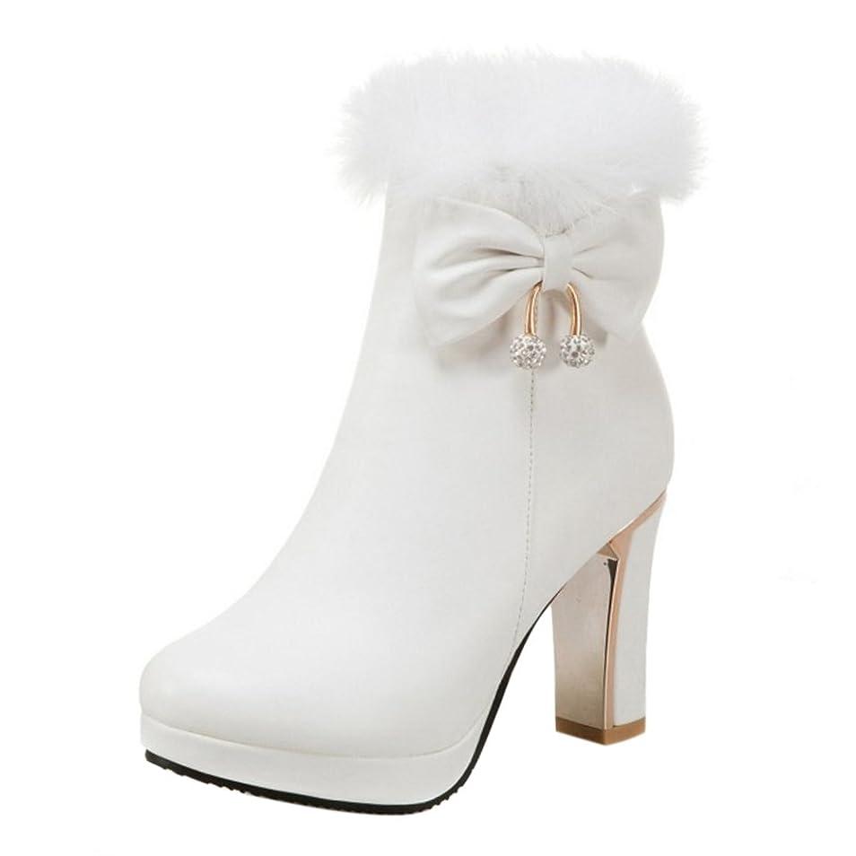 カウンターパートネクタイ腐敗[RizaBina] レディース ショートブーツ ボア付け ハイヒール ブーツ 小さいサイズ 大きいサイズ