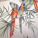 Stoff Meterware Baumwolle Satin gelb orange Papagei blau