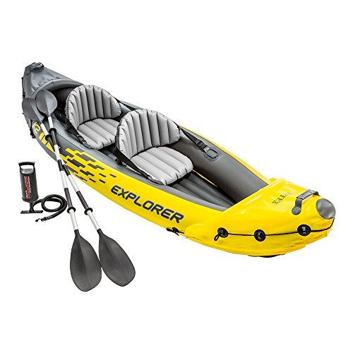 Kayak hinchable Intex de la línea Explorer K2, diseñado para dos personas (máximo 180 kg) con unas medidas de 312 x 91 x 51 cm Explorer K2 de color amarillo con gráficos deportivos de alta visibilidad, fabricado con vinilo resistente de primera calid...