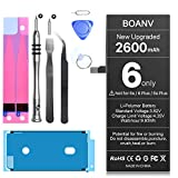 [2600mAh] Battery for iPhone 6, BOANV Ultra High Capacity 0 Cycle Battery Replacement for iPhone 6, with Professional Replacement Tool Kits - 12 Months Warranty