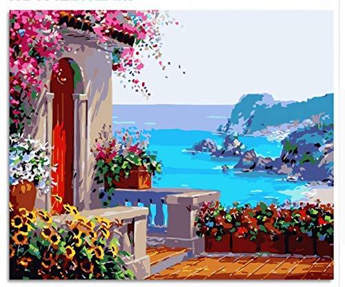 Seaside Flower House Landscape Diy Pintura By Numbers Kit Pintura Sobre Lienzo Caligrafía Para Decoración Del Hogar Con Marco 40x50cm