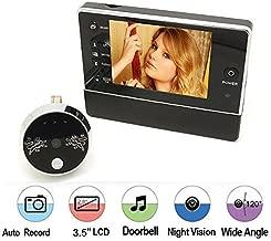 BW 3.5 pulgadas LCD Monitor Digital Peephole Cámara Viewer con función de timbre para seguridad en el hogar, 120 grados de gran angular