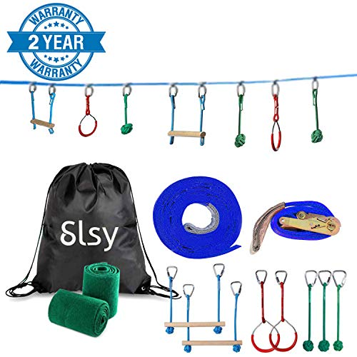 Big Save! Slsy Ninja line Monkey Bar Kit 40 Foot, Kids Slackline Hanging Obstacle Course Set Warrior...