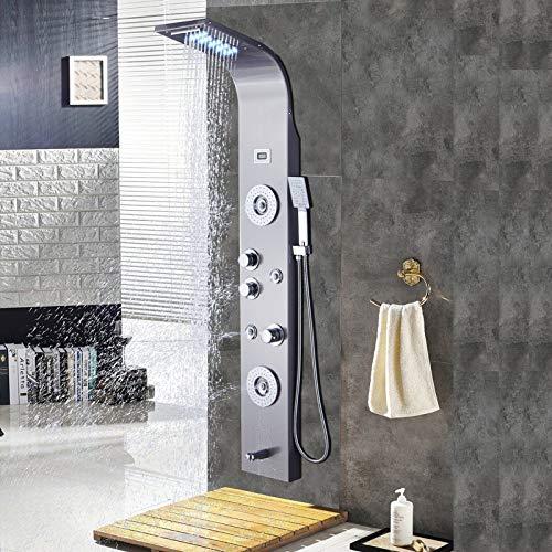 Saeuwtowy Panel de Ducha LED Panel de Hidromasaje en Acero Inoxidable Con Ducha de Mano y Manguera de Baño Panel de Ducha Grifería Efecto Lluvia Masaje Set