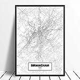 Leinwanddruck,Birmingham Schwarz Weiß Benutzerdefinierte