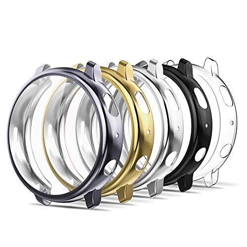 Simpeak 5-Packs Funda Compatible con Samsung Galaxy Watch Active 2 40mm, Funda Compatible con Samsung Active 2 40mm Slim Suave TPU Reemplazo Protector- Negro/Gris/Oro/Transparente/Plata