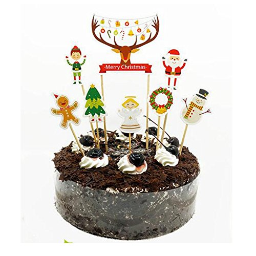 Pietra Flower Santa Claus and Deer Cake Toppers Cartoon Design for Christmas Party Decoration