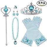 Vicloon Princesa Vestir Accesorios 6 Pcs Regalo Conjunto de Belleza Corona Sceptre Collar Pendientes Anillo Guantes para Niña (Azul)