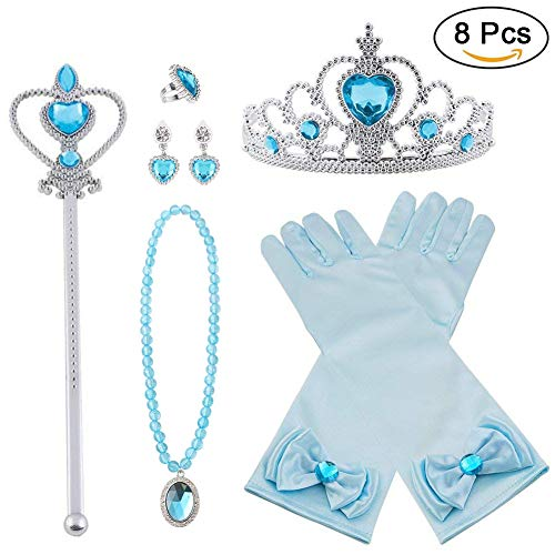 Vicloon Princesa Vestir Accesorios 8 Pcs Regalo Conjunto de Belleza Corona Anillo Sceptre Collar Pendientes Guantes para Niña (Azul)