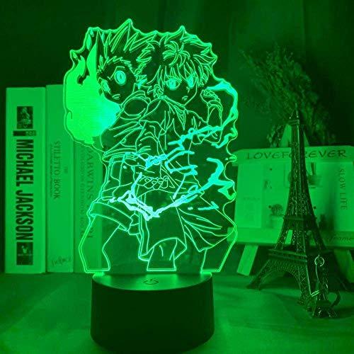 Lámpara de ilusión 3D LED noche luz Gon y Killua figura anime Hunter X Hunter para niños dormitorio decoración niño regalo Hxh cama
