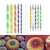Angshop Mandala Rock - Juego de pinceles para pintar con punta y puntos, 13 piezas, cabeza plana, 4 mm, 5 mm, 6 mm, 8 mm, 10 mm, 12 mm, 14 mm de diámetro, 5 lápices
