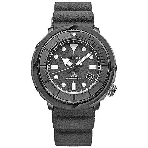 Relógio masculino Seiko Solar Diver SNE537 com pulseira de borracha de silicone e cronógrafo cinza e mostrador de quartzo