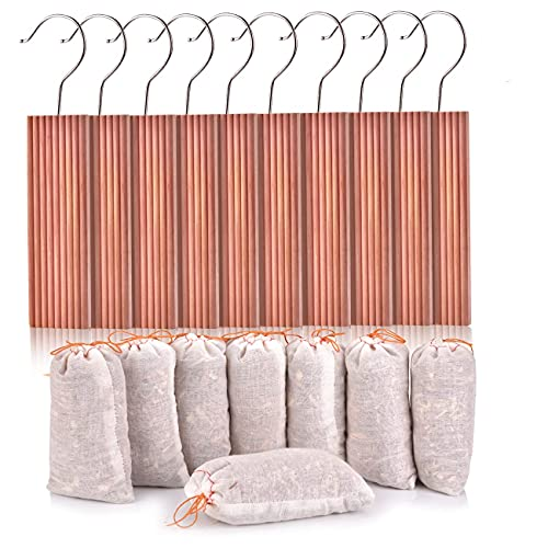 Homode Cedar Blocks, Cedar Hang Ups for Clothes Storage, Cedar Sachets for for Closets and Drawers, Fresh Scent Ceder Wood, 18 Pack