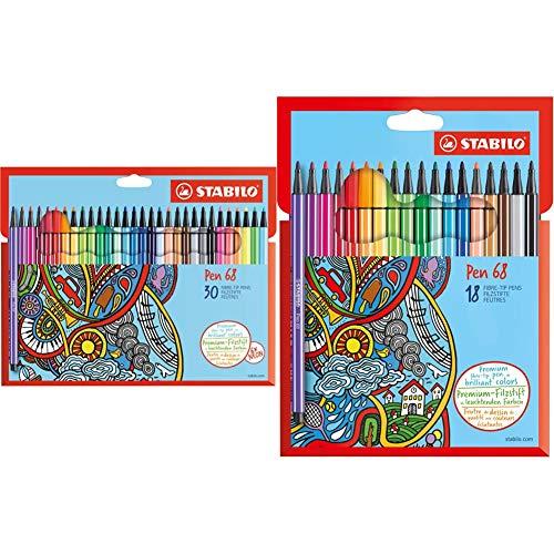 Stabilo Pennarello Premium Pen 68 Astuccio In Cartone Da 30 Colori Assortiti & Pennarello Premium Pen 68 Astuccio In Cartone Da 18 Colori Assortiti