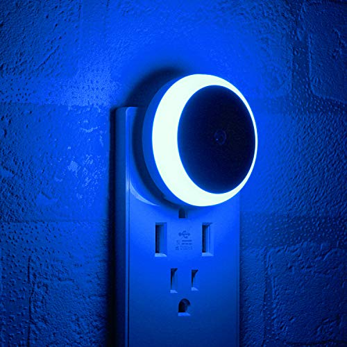 Blue Night Light, Plug-in Nightlight with Dusk to Dawn Sensor, Automatic On and Off, Energy Efficient, 2 Pack
