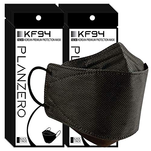 20 Pcs Premium Filters (KF94 Certified) Face Mask (Made in Korea) Respirators Protective Disposable Safety Dust Covers (Adults) Individual Package (Black)