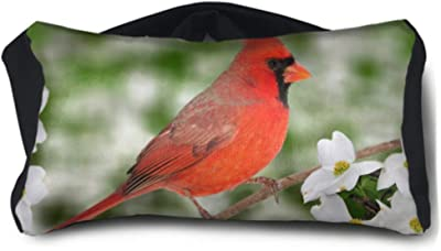 ENEVOTX Youth Travel Pillow Beautiful Male Northern Cardinal Cardinalis Cardinalis Unisex Multi-Purpose Cute Eye Mask One-Size-fits-All for Family Airplanes Office Trip