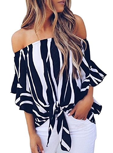 DressUWomen Cravate avant Encolure rayé Vogue en mousseline de soie Flare manches Chemisier Tunique Femme Pattern4 XS