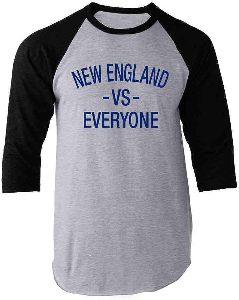 Pop Threads New England vs Everyone Sports Fan Black 3XL Raglan Baseball Tee Shirt