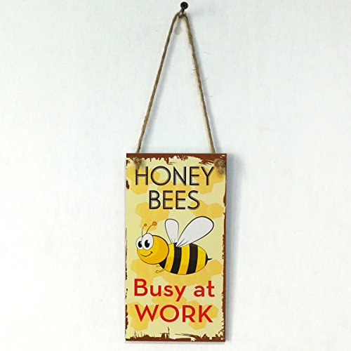 VORCOOL Honig Bienen beschäftigt bei der Arbeit Neuheit lustige Holz Schild Garten dekorative Plakette hängenden Schild