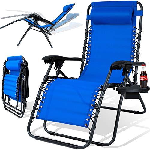 KESSER® - Sonnenliege Liegestuhl Mit Getränkehalter   Verstellbar Rückenlehne   abnehmbares Kopfkissen Kopfpolster  Klappbar   Stahlrahmen   Garten Liege Hochlehner   Gartenstuhl ergonomisch Blau