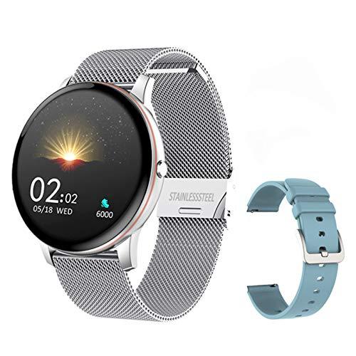JXFF V19 Pulsera de Fitness con función de medición de presión Reloj Inteligente A Prueba de Agua Rastreador Deportivo Monitor de Ritmo cardíaco Smart Watch para Android iOS,C
