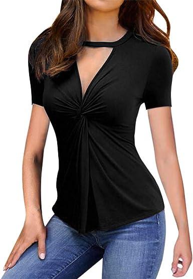 Camisas de Mujer Camisa Casual de Manga Corta con Cuello en V ...