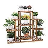 medla Soporte para Plantes de Madera para Interiores y Exteriores, Estantería para Plantas y Flores de 9 Niveles, Estante Decorativo para Macetas para Patio, Jardín, Balcón, Oficina (9-13 macetas)