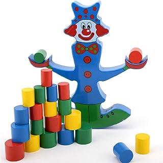 Hogo Tumbling Block Game Clown Balancing Blocks, Wooden Toppling Tower Block Game, Classic Block Stacking Game for Kids Adults Family