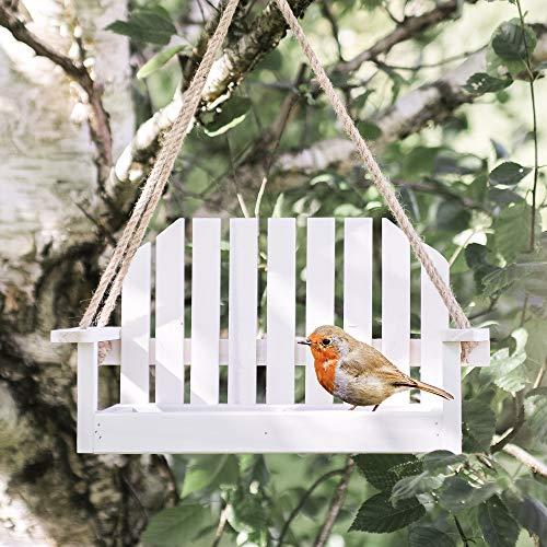 Garden mile Weiß Shabby Chic Garten Bank Schaukelsitz Futterstelle Für Vögel Garten Deko Vogel Futterstation Samen Mutter Rindernierenfett Garten vogel Zubringer Futterstelle für Vögel Station