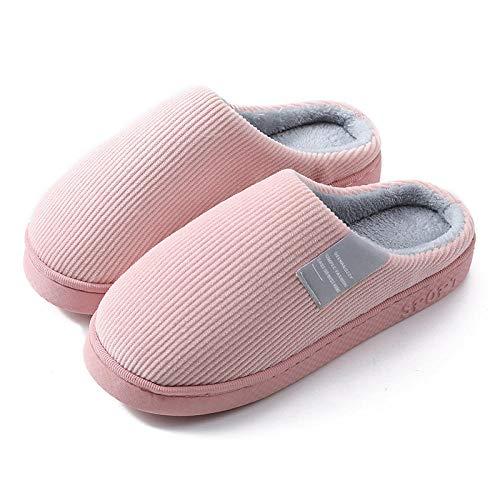 ypyrhh algodón con Memoria Zapatillas de Estar,Par de Zapatillas de Felpa de algodón,Zapatos de confinamiento de Suela Gruesa para el hogar-Pink_40-41,para el Invierno para el InteriorZapatillas