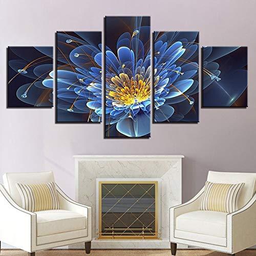 Geiqianjiumai 5 blauw transparante bloemen muurfoto's maken woonkamer decoratie schilderij slaapkamer muurkunst canvas